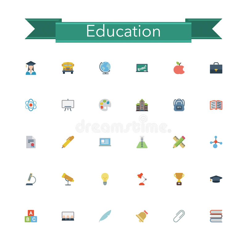 Download Education Flat Icons stock vector. Illustration of element - 60752663