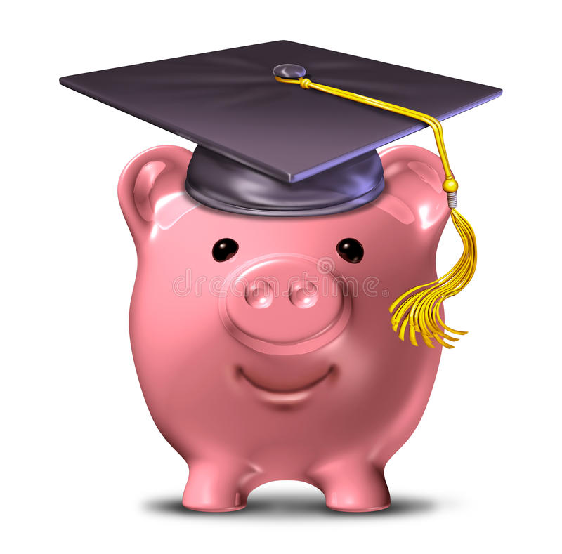 Education fund. Saving for an education represented by a graduation cap and school mortar board on a pink savings piggy bank