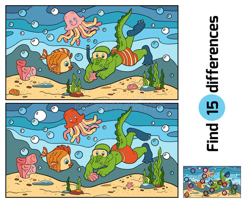 Education game: find differences (crocodile diver, ocean floor) royalty free illustration