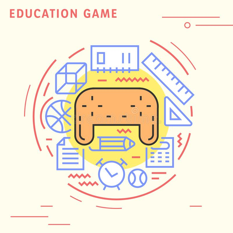 Education game flat line design concept. Playful and modern illustration for study industries. Playful and modern illustration for study industries. Education vector illustration