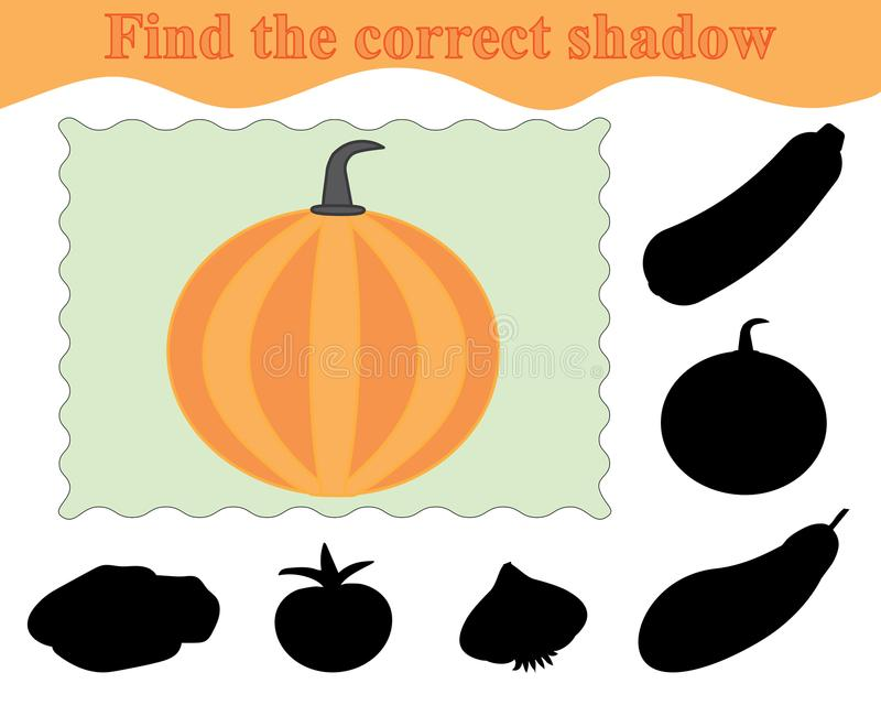 Education. Game for kids. Find the correct shadow of pumpkin. stock illustration