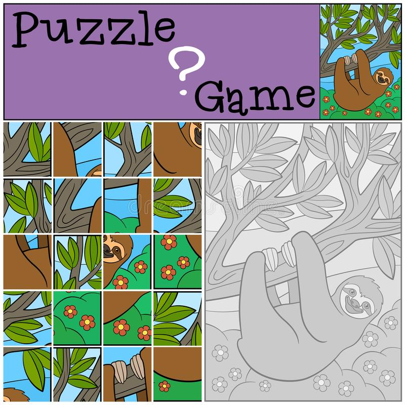Education game: Puzzle. Cute lazy sloth. Hangs on the tree branch and smiles stock illustration