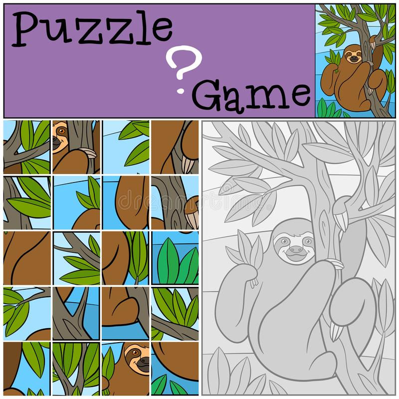 Education game: Puzzle. Cute lazy sloth. Hangs on the tree branch and smiles vector illustration
