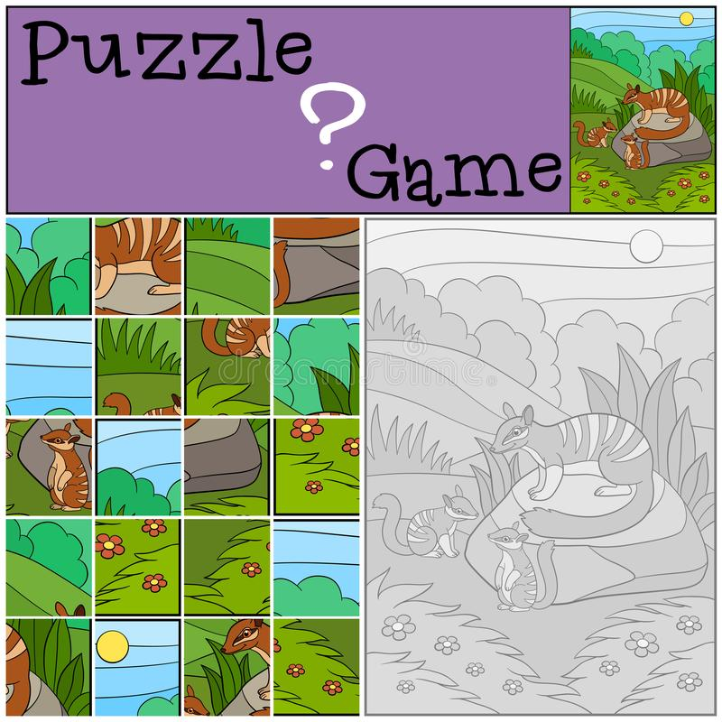 Education game: Puzzle. Mother numbat with her babies. Education game: Puzzle. Mother numbat with her little cute babies stock illustration