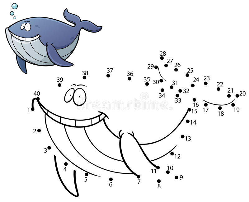 Education Game. Vector Illustration of Education dot to dot game - Whale stock illustration