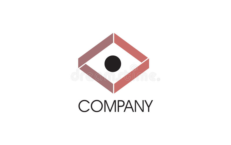 Education geometric logo. A geometrical logo with mind bending structure and a dot in the middle, it can be read as an eye royalty free illustration