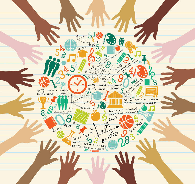 Free Education Global Icons Human Hands. Stock Photography - 32998732