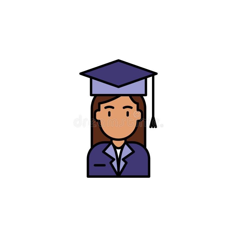 education, graduation cap, woman icon. Element of feminism illustration. Premium quality graphic design icon. Signs and symbols stock illustration