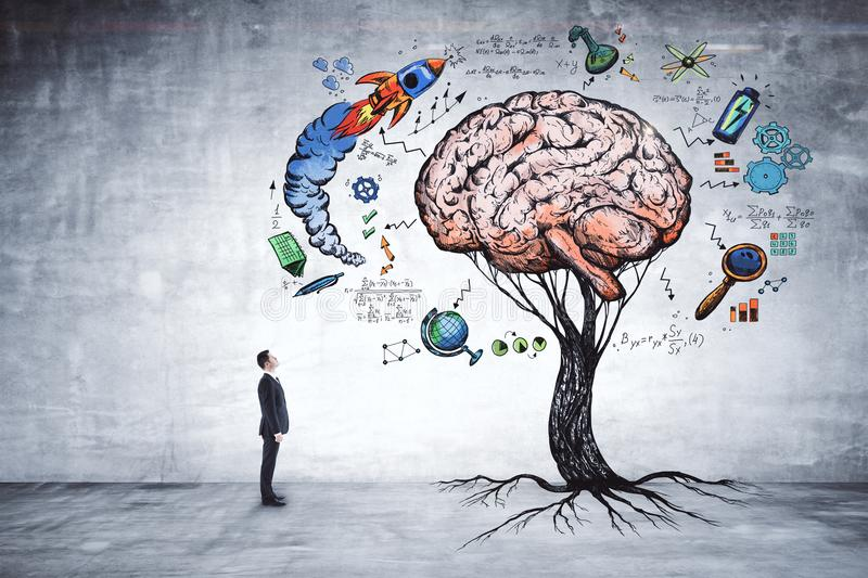 Education, growth, brainstorm and startup concept royalty free stock photos