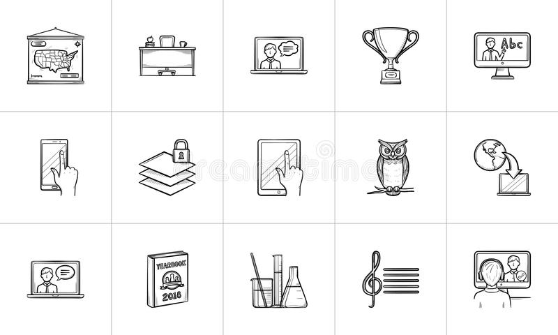 Education hand drawn sketch icon set. royalty free illustration
