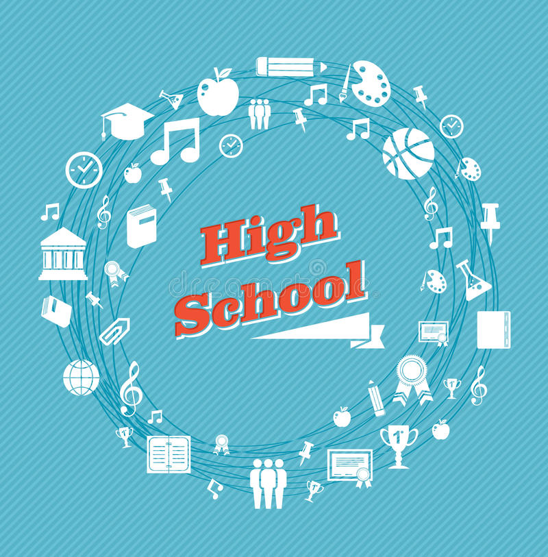 Education high school icons. Back to school global icons high school education blue background. Vector layered for easy personalization stock illustration