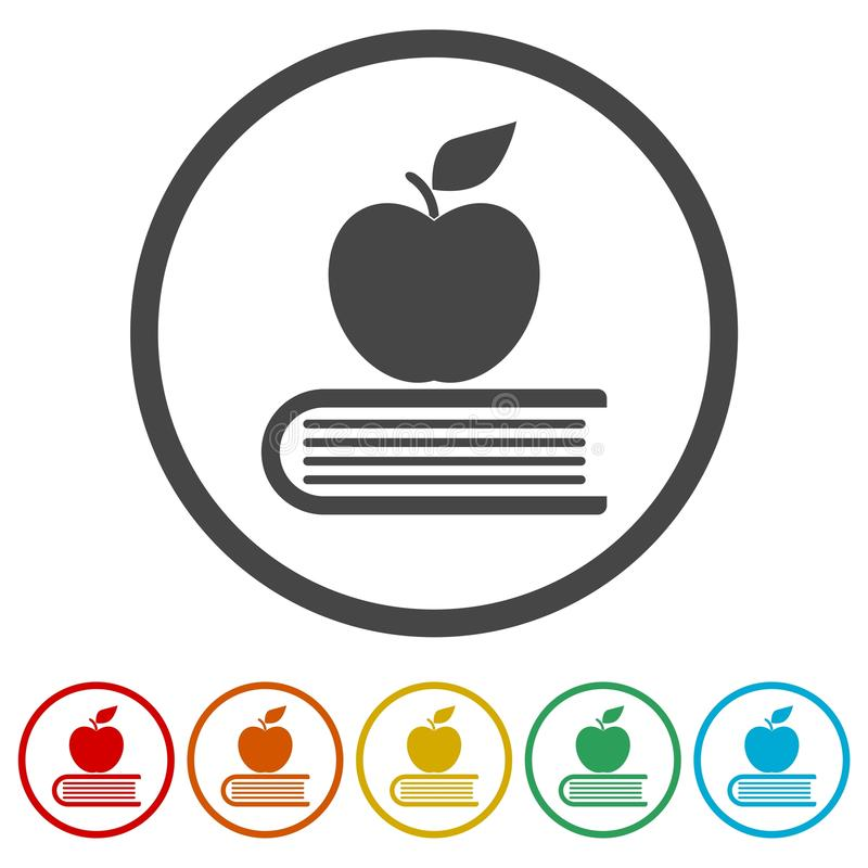 Education icon, Book with apple, 6 Colors Included. Simple vector icons set royalty free illustration