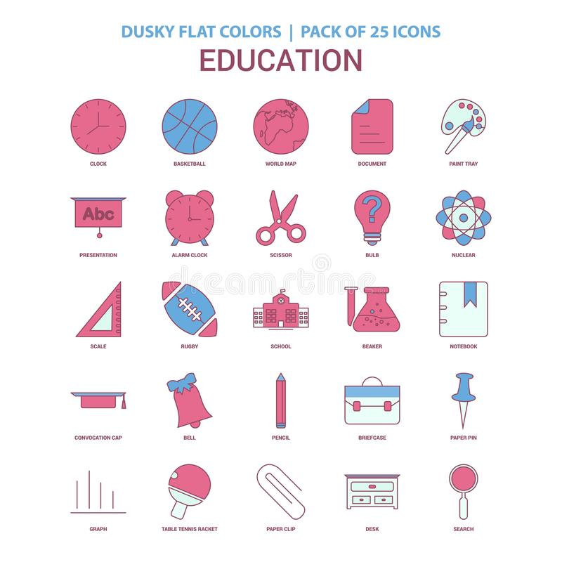Education icon Dusky Flat color - Vintage 25 Icon Pack vector illustration