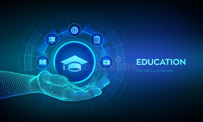 Education icon in hand. Innovative online e-learning and internet technology concept. Webinar, knowledge, online training courses royalty free stock photos