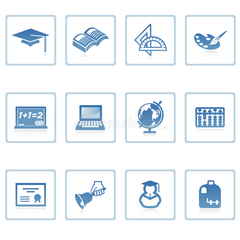 Education icon II. A set of web icons with light reflections