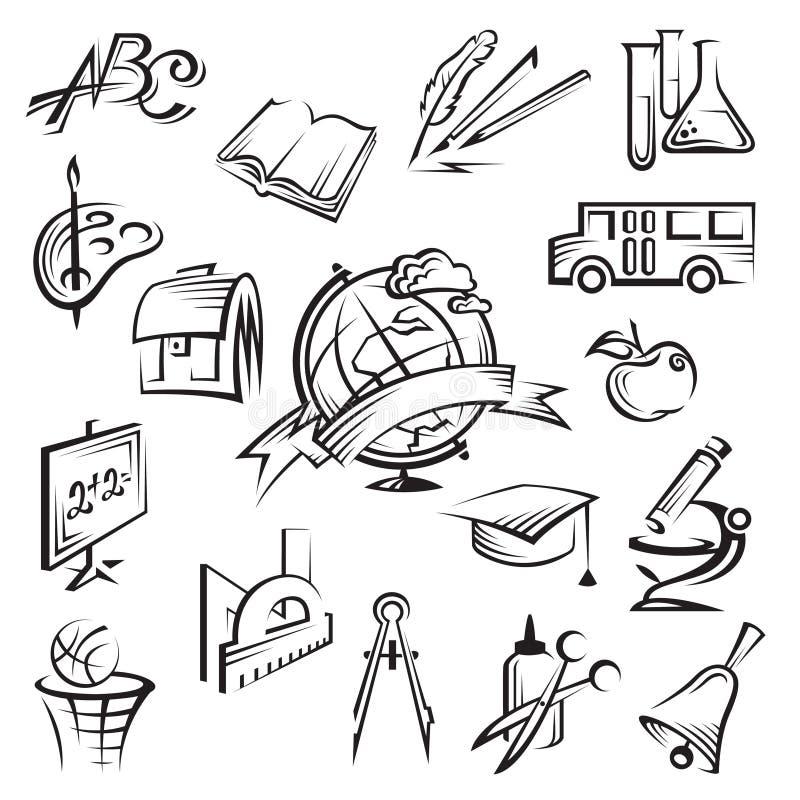 Education icon set. Set of seventeen monochrome education icon vector illustration