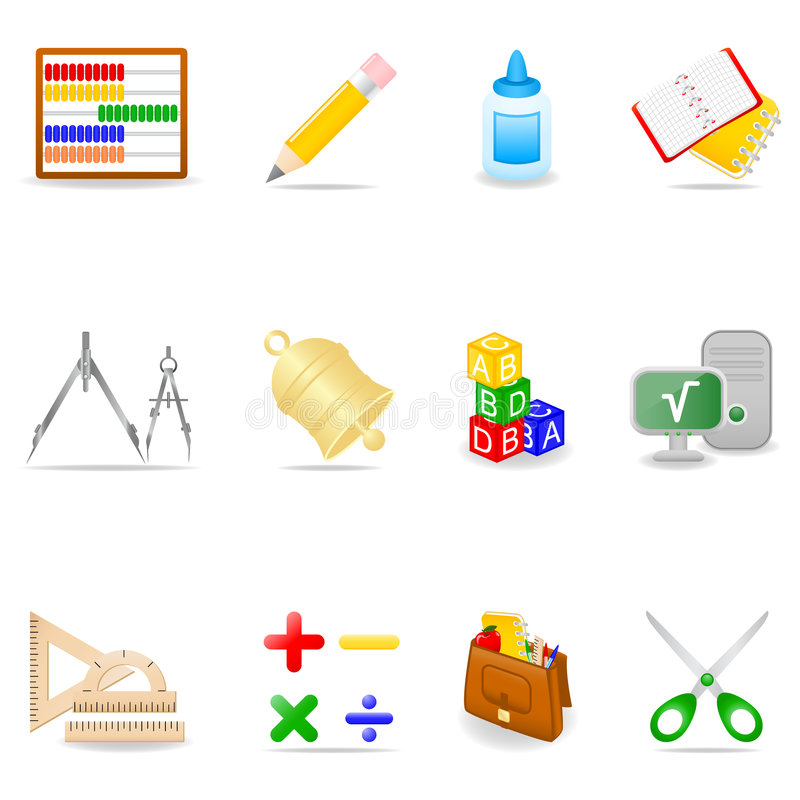 Education icon set. Icon set with school symbols