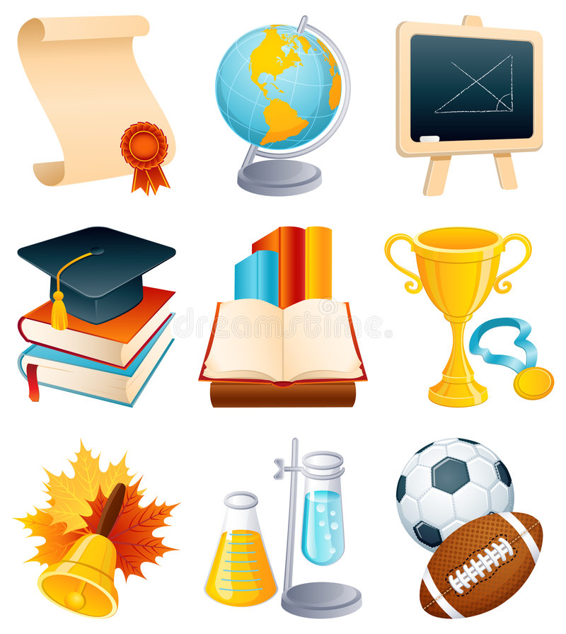 Free Education Icon Set Royalty Free Stock Images - 7419279