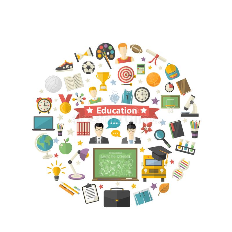Education icon set in circle in flat style vector illustration. Isolated on a white background.School,university,college,science,geography,mathematics stock illustration