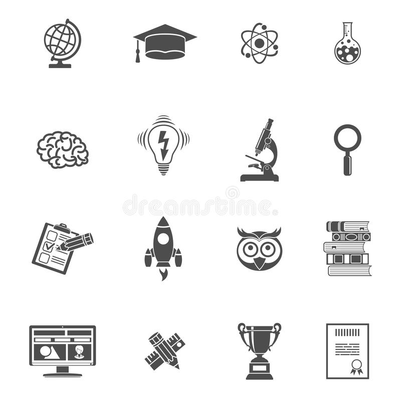 Education Icon Set. Online Education and E-learning Icon Set for Flyer, Poster, Web Site. Vector isolated on white vector illustration