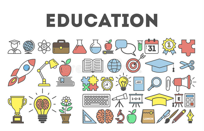 Education icon set. Education icon set on white background. Golden cup, lightbulb, apple, book and more royalty free illustration