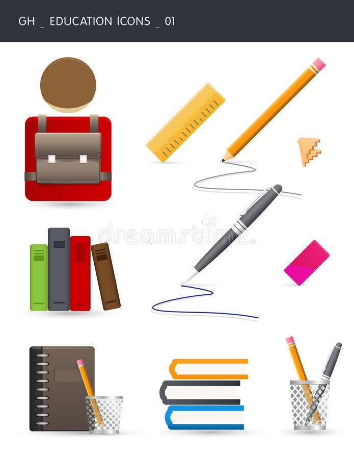 Download Education Icons _01 stock illustration. Image of eraser - 16520729