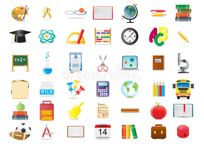 Download Education icons stock illustration. Image of clock, bell - 15679997