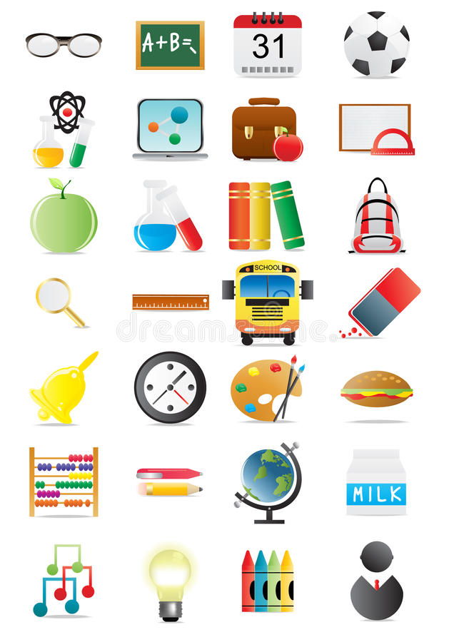 Download Education icons stock illustration. Image of bell, briefcase - 15680013