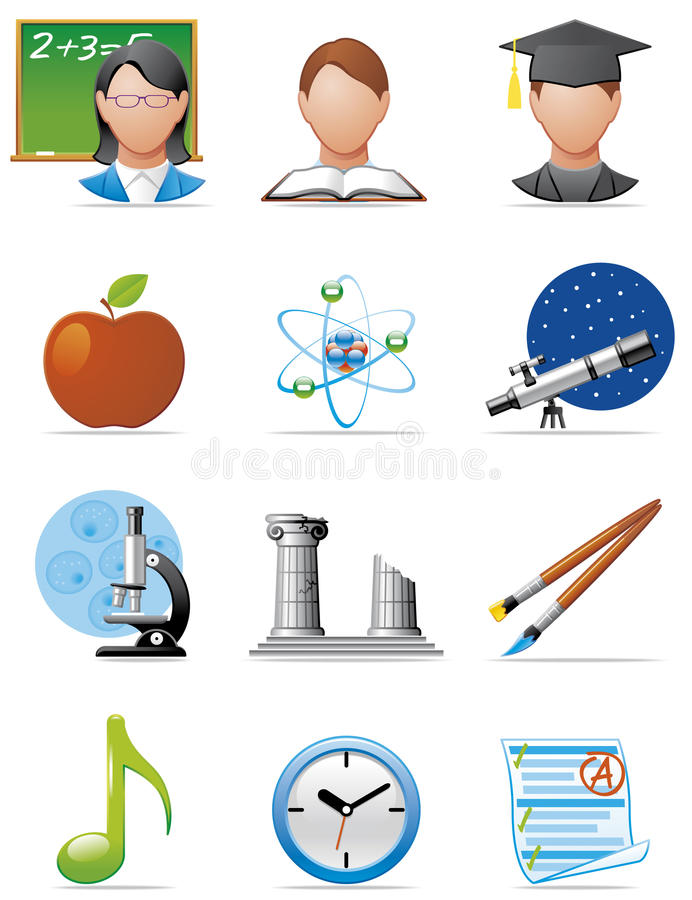 Education icons. Vector illustration Set of Education icons stock illustration