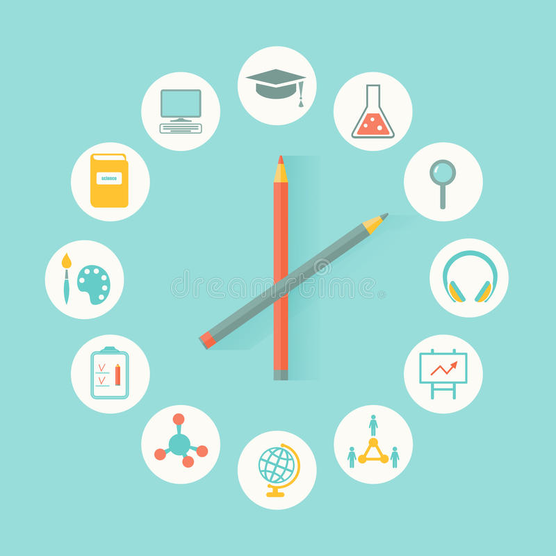 Education Icons Infographics Flat Design. Education, Curriculum Concept stock illustration