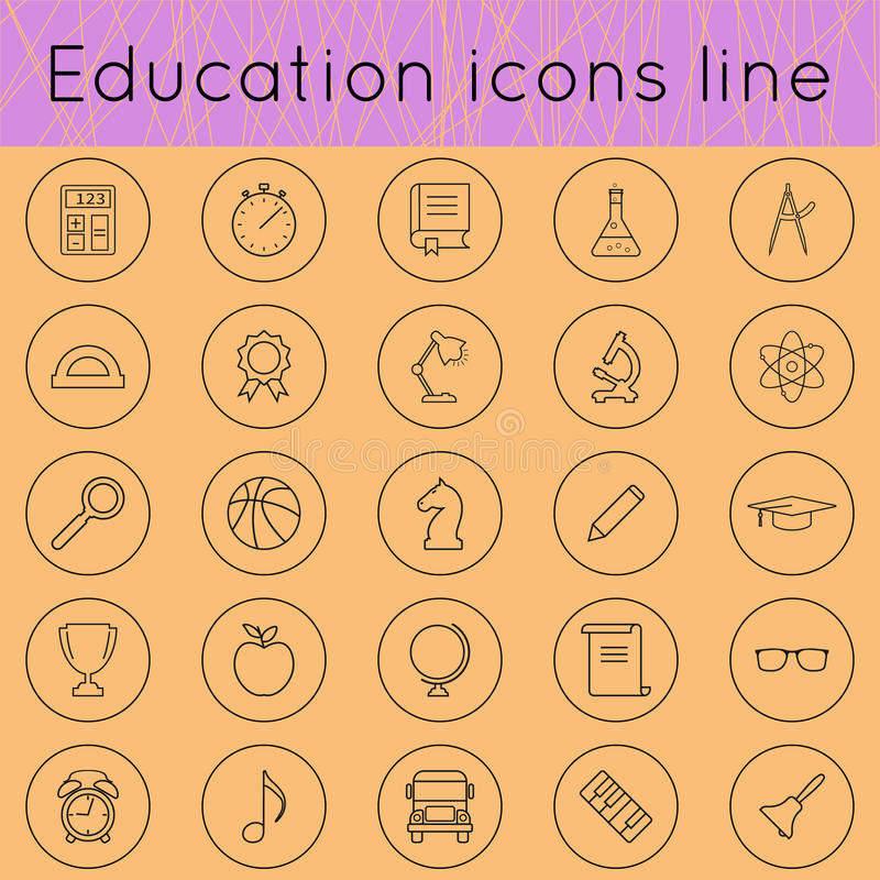 Education icons line 02 vector illustration