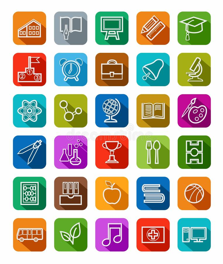 Education, icons, linear, white outline, solid color. stock illustration