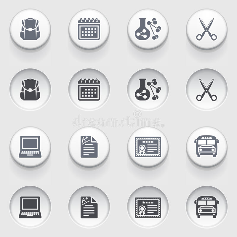 Free Education Icons On White Buttons. Set 2. Royalty Free Stock Photo - 34980225