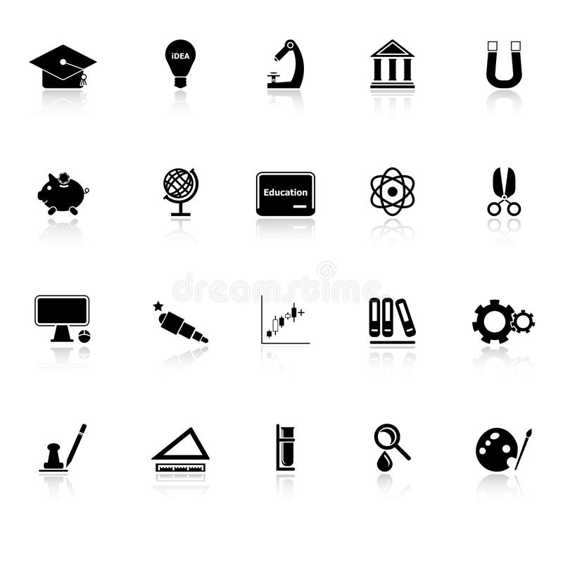 Download Education Icons With Reflect On White Background Stock Vector - Illustration of manual, idea: 38033962