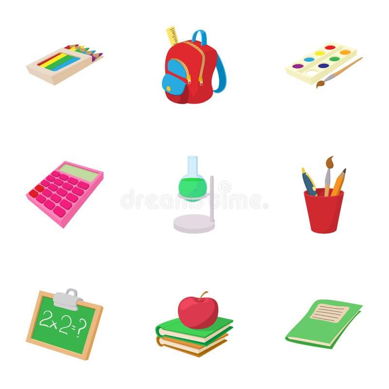 Education icons set, cartoon style stock illustration