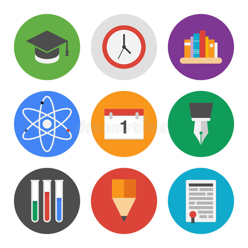 Education icons set royalty free illustration