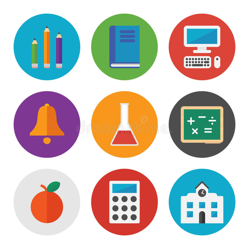 Education icons set stock illustration