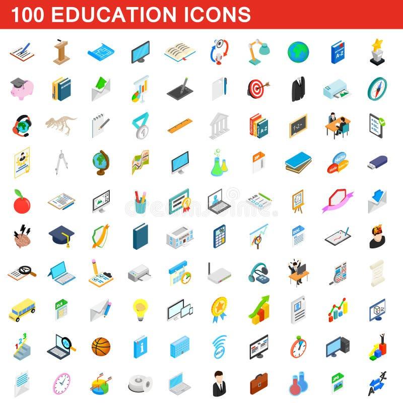 100 education icons set, isometric 3d style stock illustration