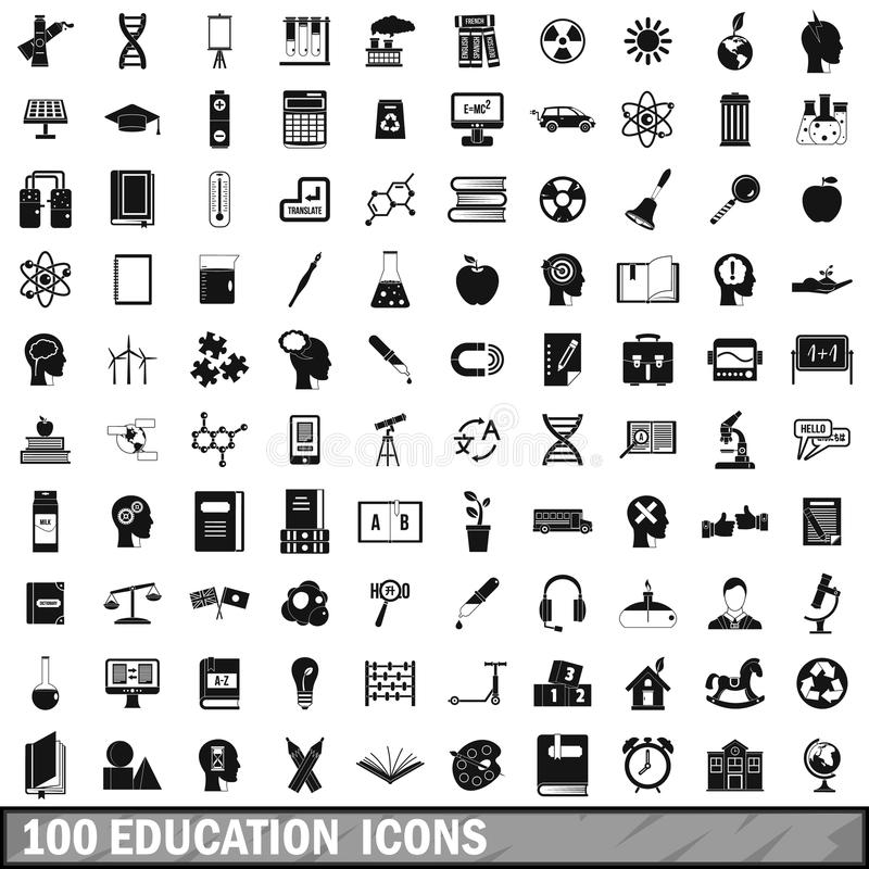 100 education icons set, simple style stock illustration