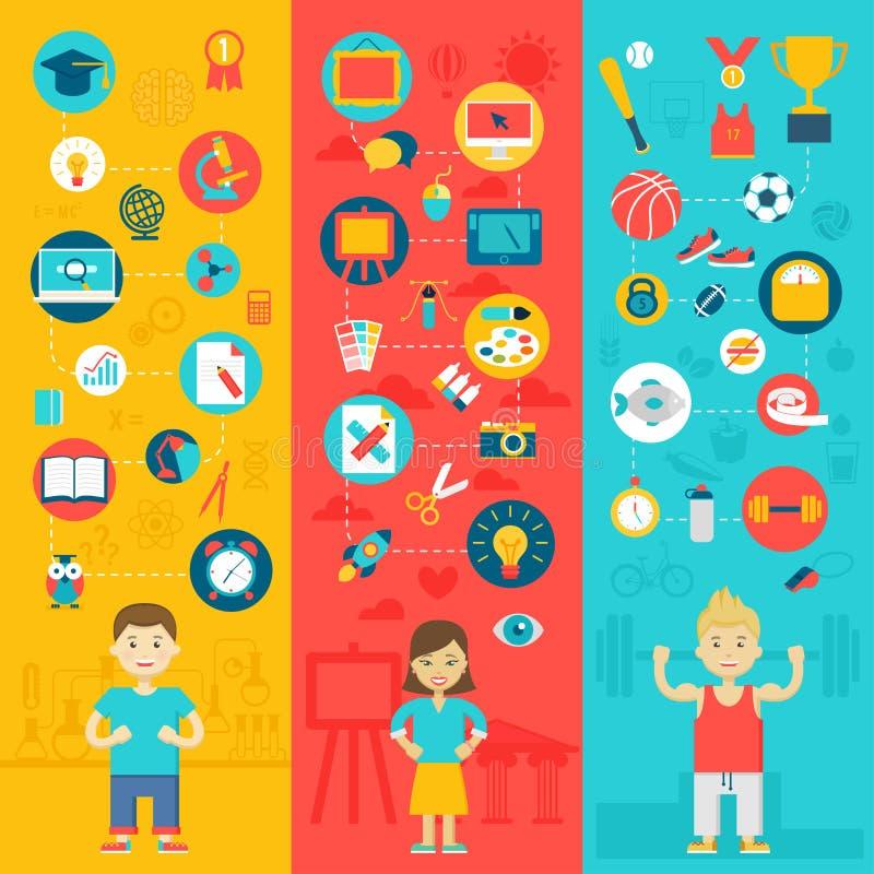 Education icons. royalty free illustration