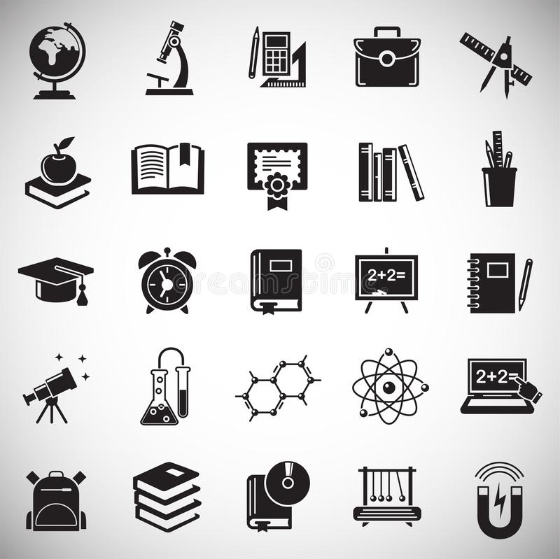 Education icons set on white background for graphic and web design, Modern simple vector sign. Internet concept. Trendy symbol for. Website design web button or stock illustration