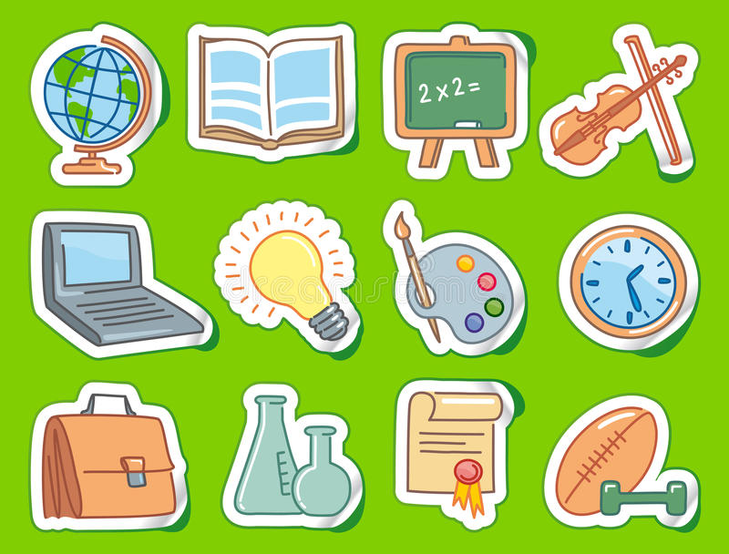Education icons on stickers