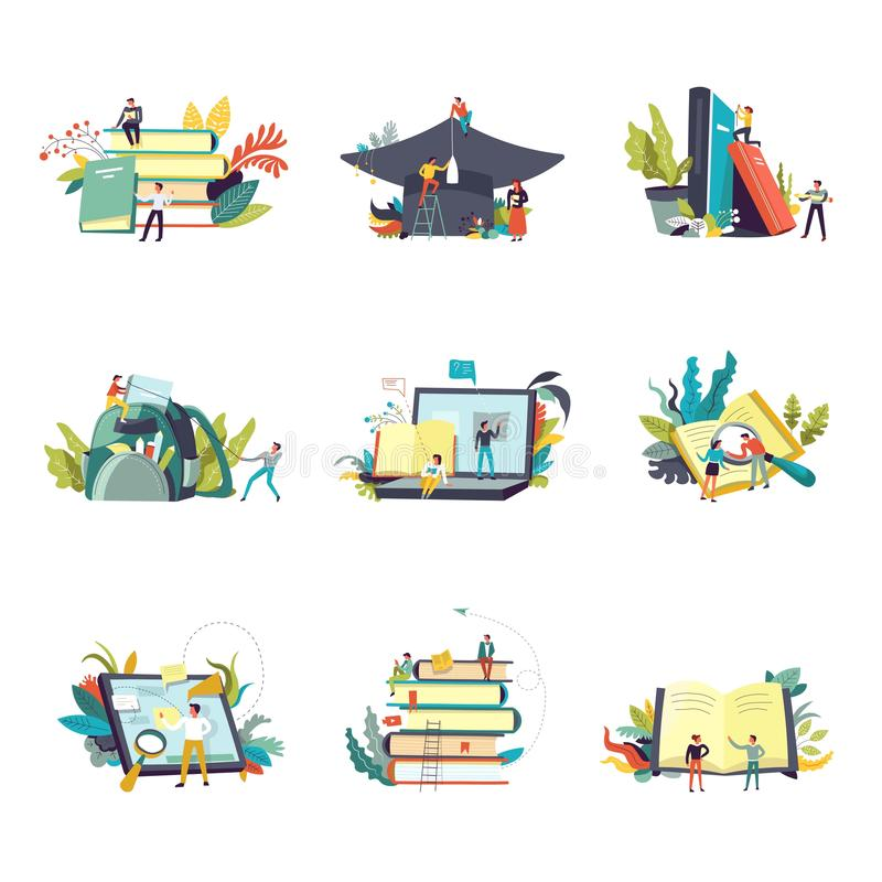 Education icons and study learning vector people vector illustration