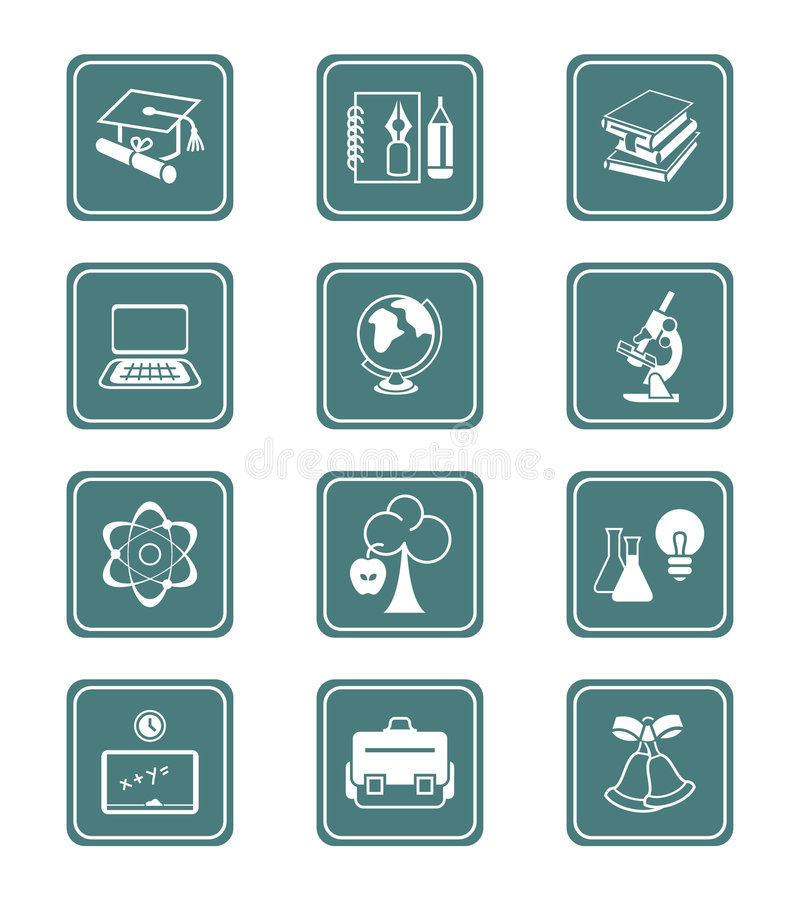 Education Icons | TEAL Series Royalty Free Stock Photography