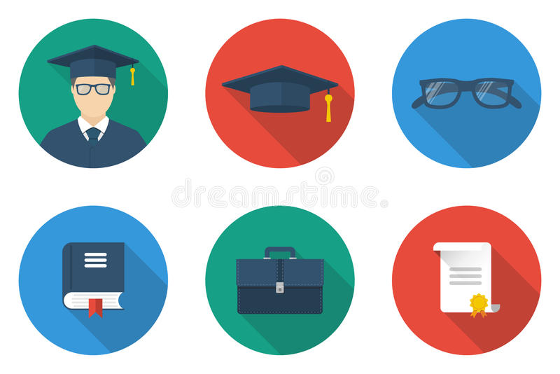 Education icons vector royalty free illustration
