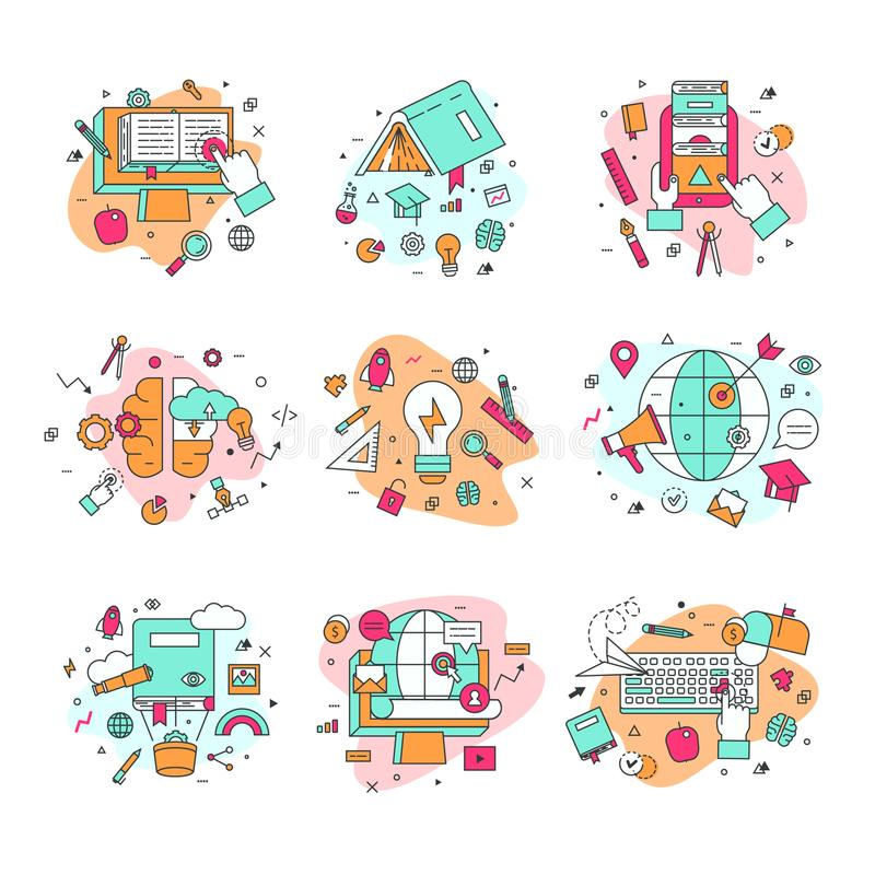 Education icons vector illustration educational and learning symbols of schooling and graduation set of school science vector illustration