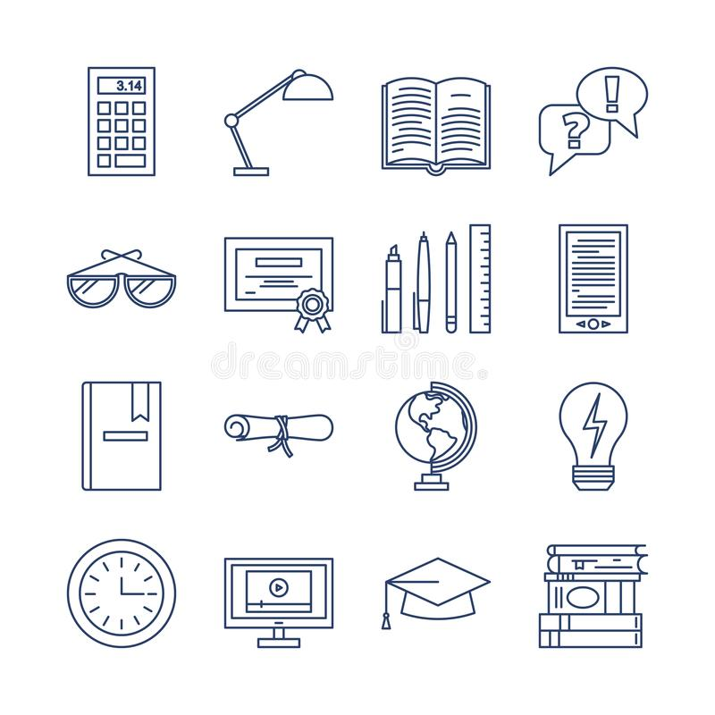 Education icons vector set isolated. Lerning or teaching collection. stock illustration
