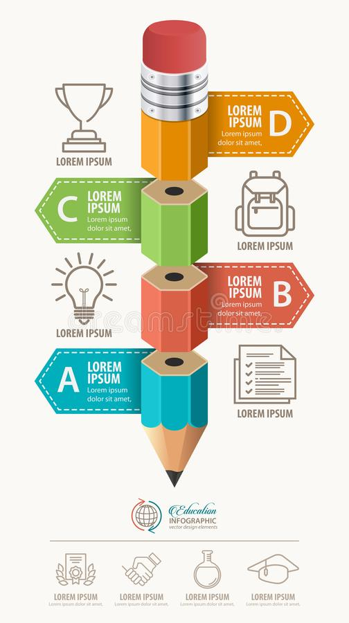 Education infographic concept. Pencil and bubble speech with icons. stock illustration