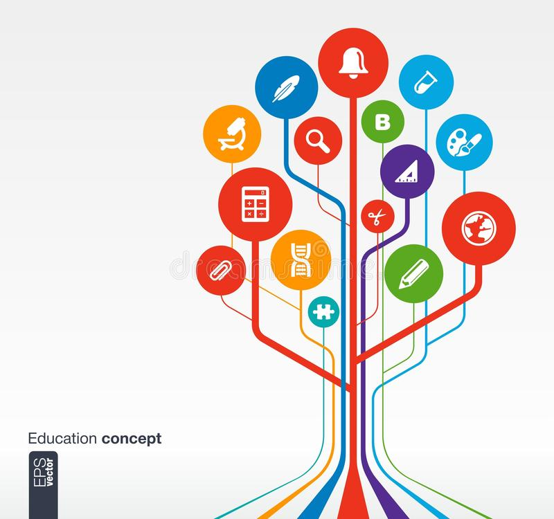 Education infographic design with tree and icons royalty free illustration