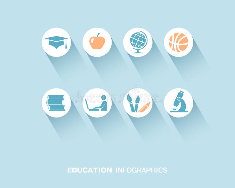 Education infographic with flat icons set stock illustration